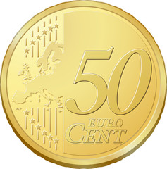 Pièce de cinquante cents, image vectorielle très détaillée
