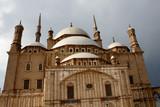 mosque in Saladin Citadel in Cairo under overcast sky poster