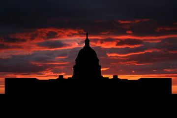 US capitol building Washington DC at sunset illustration