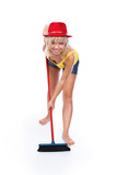 The cheerful cleaner, a series of photos on a white background poster