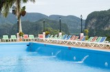 Hotel Pool by on tropical landscape, Pinar del Rio, Cuba poster