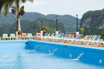 Hotel Pool by on tropical landscape, Pinar del Rio, Cuba