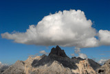 Landscape view of Dolomites mountain - clouds
