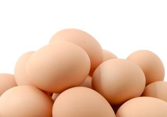 Organic eggs isolated on white background