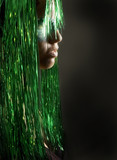 Green party girl - Girl profile with mask and wig poster