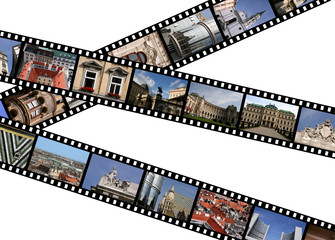 Film strips with travel photos. Vienna, Austria, Europe.