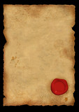 Dirty sheet of parchment with a sealing wax seal poster