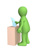 The 3d stylized person voting at elections poster