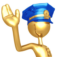 Golden Police Officer Waving