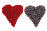 Two color heart shape created with bead,  isolated on white. poster