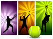 roleta: Tennis Player Silhouettes - Vector  - Easy change colors