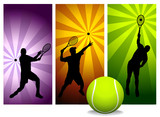 Tennis Player Silhouettes - Vector  - Easy change colors poster