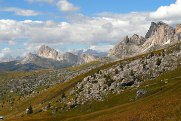 Landscape view of Dolomite mountains