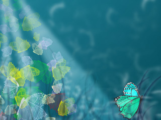 Underwater butterflies, ocean illustration background