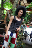 Portrait of a Thai man with a big afro. poster