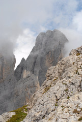 Landscape view of Dolomites mountain in clouds