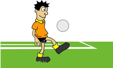 ILLUSTRATION,FOOTBALL PLAYER SHOOTING BALL