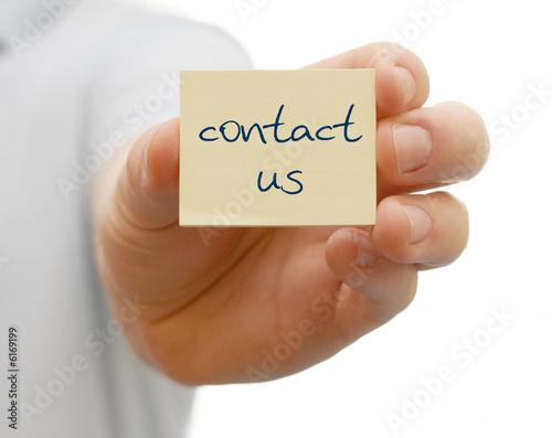 Notiz mit contact us