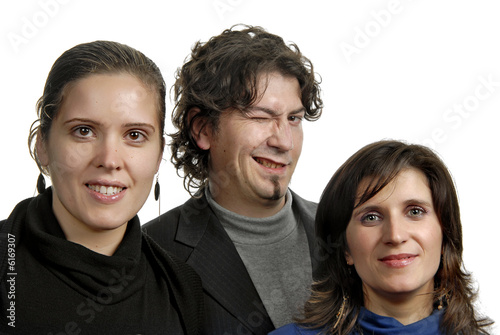 two women and a man isolated on white
