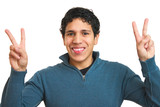 Young Hispanic Man Throwing Peace Signs with Both Hands poster
