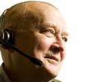 Senior telemarketing employee poster