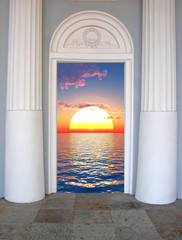 Sunset sky with clouds  in open door - digital artwork.