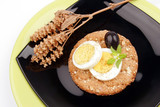 healthy meal with fiber egg black olive and dry basil decoration poster
