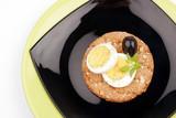 healthy meal with fiber egg black olive poster