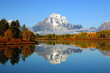 Leinwanddruck Bild - Reflection of mountain range in lake, Grand Teton National Park