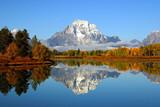 Reflection of mountain range in lake, Grand Teton National Park - 6178555