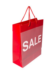 A red shopping bag with the word SALE on it
