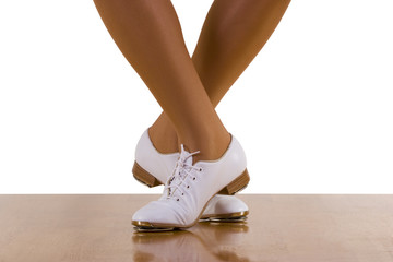 Tap-top/Clog dance steps; on white.
