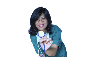 Kind nurse or doctor with stethoscope