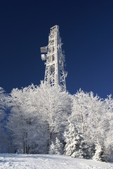 Frozen transmitter on the top of the hill