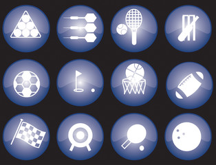 Assorted blue-glazed sports icons and buttons