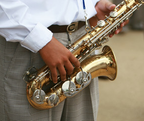 A saxaphone player in a marching band