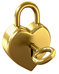 Heart shaped padlock with clipping path