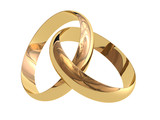 Two linked wedding rings on a white background