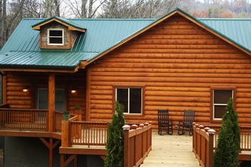 New Log Home Large Deck