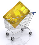 Payment with credit card. Shopping cart with card inside. poster