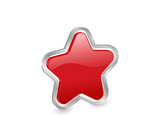 3d red star with contour poster