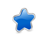 3d blue star with contour poster