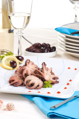 Delicious octopus cooked in red wine sauce