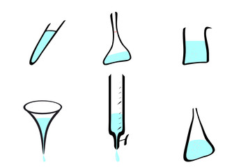 Laboratory glassware vectors