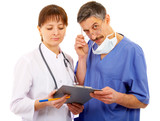 two doctors with schedule, mask and phonendoscope poster
