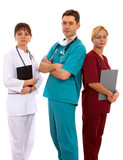 nurse, female and male doctors with schedule poster