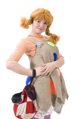 Colorful dressed female with bag III