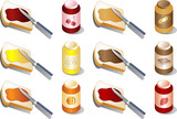 Various spreads and jams,isometric 3d illustration poster