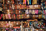 Stall of an indian leather slippers shop - Jodhpur, India poster