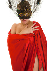 young beauty woman in mask and red silk